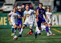 5 October 2019: University of Vermont Catamount Midfielder Joe Morrison, a Sophomore from Foxboro, MA, in action against the University at Albany Great Danes on Virtue Field in Burlington, Vermont. The Catamounts fell to the visiting Danes 3-1 in America East, Division 1 play. Mandatory Credit: Ed Wolfstein Photo *** RAW (NEF) Image File Available ***