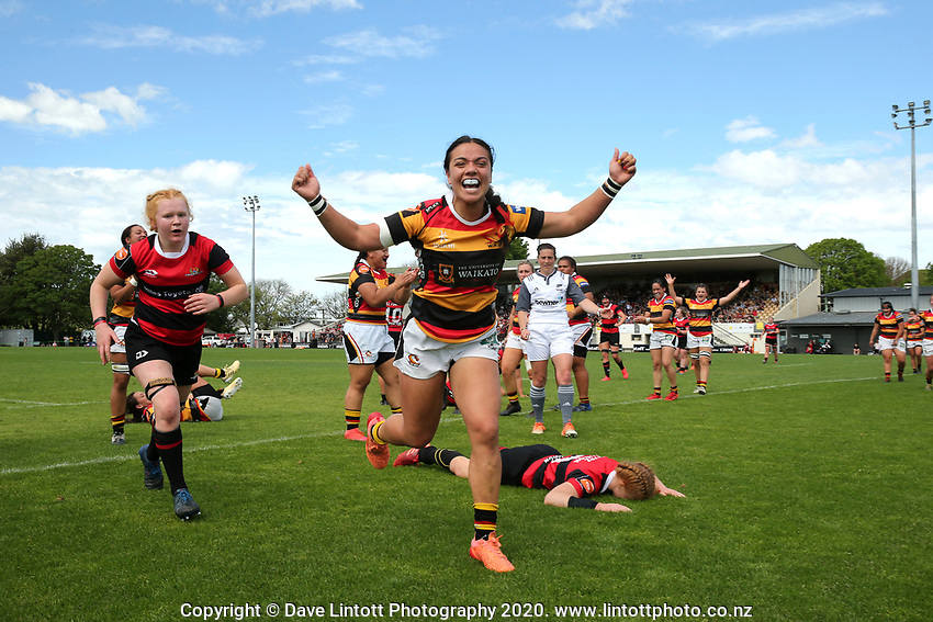 Stacey Fluhler celebrates during the 2020 Farah Palmer Cup women's rugby final between Canterbury and Waikato at Rugby Park in Christchurch, New Zealand on Saturday, 31 October 2020. Photo: Martin Hunter / lintottphoto.co.nz