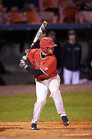 Ball State Cardinals right fielder Alex Call (8) at bat during a game against the Wisconsin-Milwaukee Panthers on February 26, 2016 at Chain of Lakes Stadium in Winter Haven, Florida.  Ball State defeated Wisconsin-Milwaukee 11-5.  (Mike Janes/Four Seam Images)
