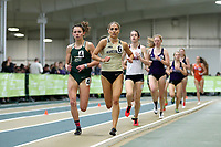 WINSTON-SALEM, NC - FEBRUARY 07: Lily Harding-Delooze #6 of Wake Forest University leads Chandler Horton #4 of the University of North Carolina Charlotte in the Women's 1 Mile Run at JDL Fast Track on February 07, 2020 in Winston-Salem, North Carolina.