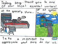 """Appreciate Essential Workers"" Drawing by Mars Charrette, Grade 5, Yarmouth, ME, USA"