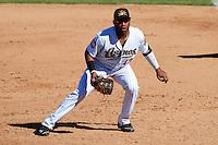 Mesa Solar Sox first baseman Jonathan Singleton #43, of the Houston Astros organization, during an Arizona Fall League game against the Peoria Javelinas at HoHoKam Park on October 15, 2012 in Mesa, Arizona.  Peoria defeated Mesa 9-2.  (Mike Janes/Four Seam Images)
