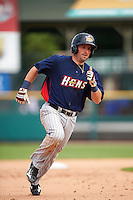 Toledo Mudhens second baseman Tyler Bortnick (22) running the bases during a game against the Rochester Red Wings on June 12, 2016 at Frontier Field in Rochester, New York.  Rochester defeated Toledo 9-7.  (Mike Janes/Four Seam Images)