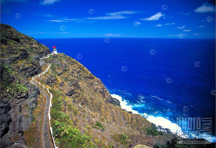 Makapuu lighthouse along windward coastline, Oahu