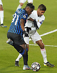 Real Madrid's Raphael Varane (r) and Atalanta BC's Duvan Zapata during UEFA Champions League Round of 16 2nd leg match. March 16,2021.(ALTERPHOTOS/Acero)