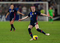 ORLANDO, FL - MARCH 05: Rose Lavelle #16 of the United States crosses the ball during a game between England and USWNT at Exploria Stadium on March 05, 2020 in Orlando, Florida.