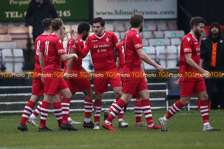 Hornchurch players celebrate their fourth goal during Hornchurch vs Maidstone United, Buildbase FA Trophy Football at Hornchurch Stadium on 6th February 2021