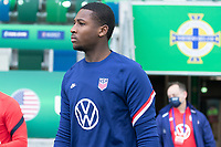 BELFAST, NORTHERN IRELAND - MARCH 28: Chituru Odunze of the United States during a game between Northern Ireland and USMNT at Windsor Park on March 28, 2021 in Belfast, Northern Ireland.
