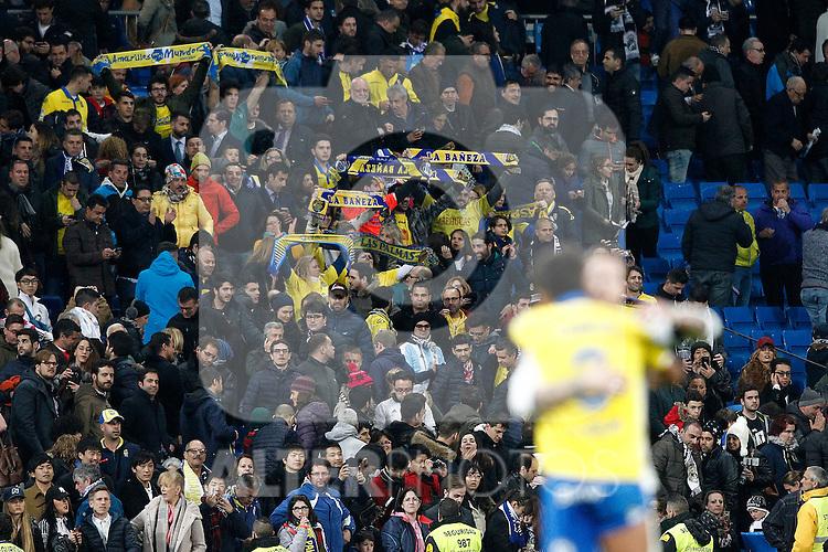 UD Las Palmas' supporters celebrate after La Liga match. March 1,2017. (ALTERPHOTOS/Acero)