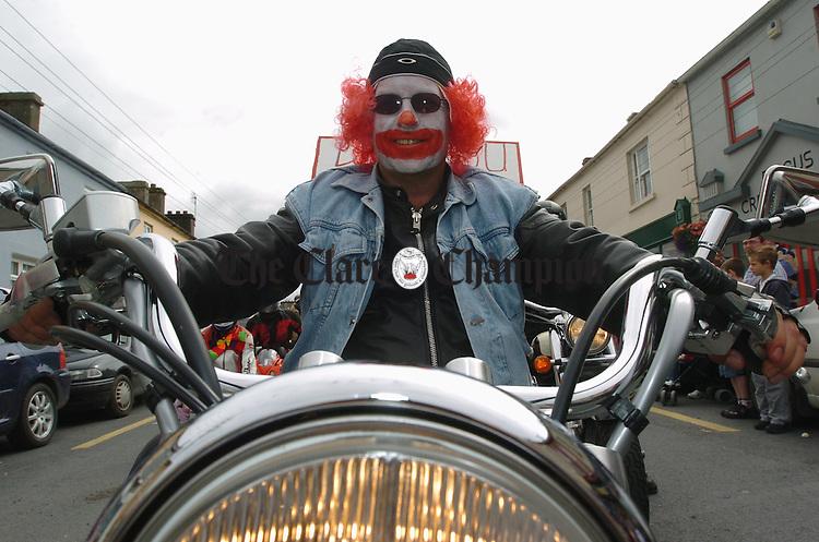 Biker clown John Guinnane was at the Kildysart Festival Parade. Photograph by John Kelly.