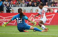 Houston, TX - Sunday April 8, 2018: Crystal Dunn, Cecilia Santiago during an International friendly match versus the women's National teams of the United States (USA) and Mexico (MEX) at BBVA Compass Stadium.
