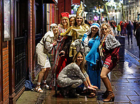 Pictured: A group of women dressed as characters of the Nativity play in Wind Street, Swansea, Wales, UK. Friday 20 December 2019<br /> Re: Black Eye Friday (also known as Black Friday, Mad Friday, Frantic Friday) the last Friday before Christmas, in Swansea, Wales, UK.