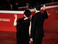 "L'attore giapponese Masahiro Motoki e la regista Miwa Nishikawa posano sul red carpet per la presentazione del film ""The Long Excuse"" al Festival Internazionale del Film di Roma, 18 ottobre 2016.<br /> Japanese actor Masahiro Motoki, right, and director Miwa Nishikawa pose on the red carpet to present the movie ""The Long Excuse"" during the international Rome Film Festival at Rome's Auditorium,18 October 2016.<br /> UPDATE IMAGES PRESS/Isabella Bonotto"