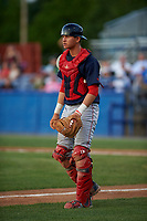 Lowell Spinners catcher Samuel Miranda (20) during a game against the Batavia Muckdogs on July 11, 2017 at Dwyer Stadium in Batavia, New York.  Lowell defeated Batavia 5-2.  (Mike Janes/Four Seam Images)