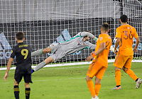 CARSON, CA - OCTOBER 28: Marko Maric  #1 of the Houston Dynamo attempts a save to his left during a game between Houston Dynamo and Los Angeles FC at Banc of California Stadium on October 28, 2020 in Carson, California.