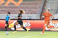 HOUSTON, TX - SEPTEMBER 10: Casey Krueger #6 of the Chicago Red Stars races towards the Houston goal with the ball with Sophie Schmidt #13 of the Houston Dash chasing her during a game between Chicago Red Stars and Houston Dash at BBVA Stadium on September 10, 2021 in Houston, Texas.