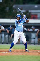 Meibrys Viloria (4) of the Burlington Royals at bat against the Pulaski Yankees at Burlington Athletic Park on August 6, 2015 in Burlington, North Carolina.  The Royals defeated the Yankees 1-0. (Brian Westerholt/Four Seam Images)