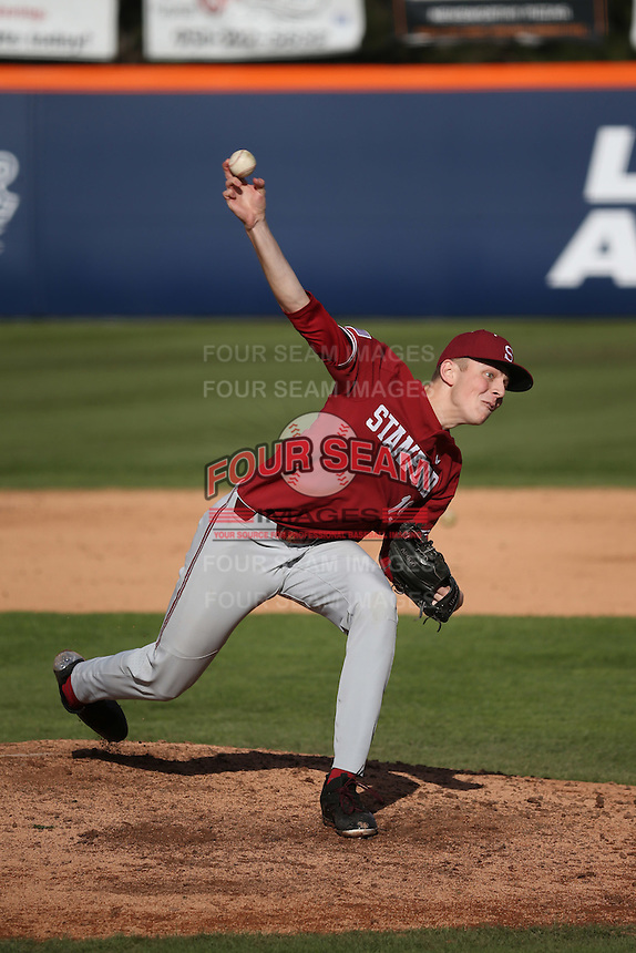 Will Mattheissen #19 of the Stanford Cardinal pitches against the Cal State Fullerton Titans at Goodwin Field on February 19, 2017 in Fullerton, California. Stanford defeated Cal State Fullerton, 8-7. (Larry Goren/Four Seam Images)