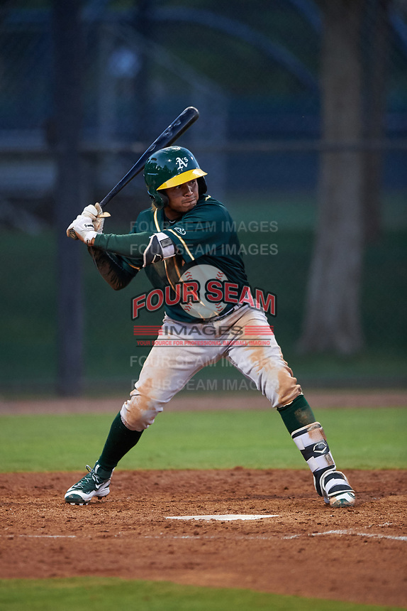 AZL Athletics Green Wilson Alvarez (3) at bat during an Arizona League game against the AZL Dodgers Lasorda at Camelback Ranch on June 19, 2019 in Glendale, Arizona. AZL Dodgers Lasorda defeated AZL Athletics Green 9-5. (Zachary Lucy/Four Seam Images)