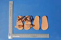 FAO JANET TOMLINSON, DAILY MAIL PICTURE DESK<br />Pictured: A copy of a pair of sandals similar to those worn by Ben Needham in Kos, Greece. Saturday 01 October 2016<br />Re: Police teams led by South Yorkshire Police, searching for missing toddler Ben Needham on the Greek island of Kos have moved to a new area in the field they are searching.<br />Ben, from Sheffield, was 21 months old when he disappeared on 24 July 1991 during a family holiday.<br />Digging has begun at a new site after a fresh line of inquiry suggested he could have been crushed by a digger.