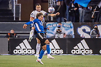 SAN JOSE, CA - MAY 01: Cade Cowell #44 of the San Jose Earthquakes and Frederic Brillant of DC United go up for a header during a game between San Jose Earthquakes and D.C. United at PayPal Park on May 01, 2021 in San Jose, California.