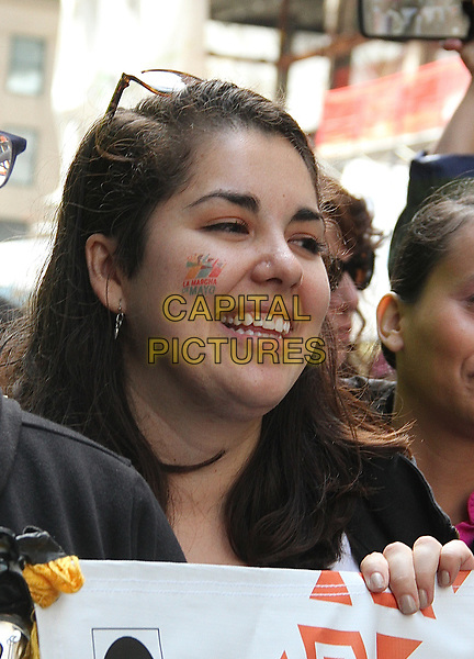 """NEW YORK, NY - MAY 6:  Ana Breton, La Marcha de Mayo organizer and digital producer with the TBS show, """"Full Frontal with Samantha Bee'"""" at the La Marcha de Mayo in New York, New York on May 6, 2017.  <br /> CAP/MPI/RMP<br /> ©RMP/MPI/Capital Pictures"""