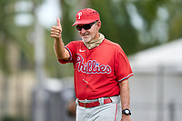 Philadelphia Phillies manager Roly de Armas (8) during an Extended Spring Training game against the New York Yankees on June 22, 2021 at the Carpenter Complex in Clearwater, Florida. (Mike Janes/Four Seam Images)