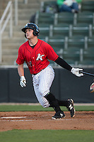 Zach Fish (24) of the Kannapolis Intimidators follows through on his swing against the Hickory Crawdads at Kannapolis Intimidators Stadium on April 7, 2016 in Kannapolis, North Carolina.  The Crawdads defeated the Intimidators 5-1.  (Brian Westerholt/Four Seam Images)