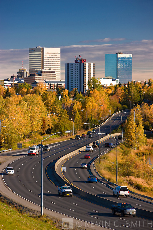 Traffic on Minnesota blvd. drives into down town Anchorage, fall, Anchorage, Southcentral Alaska, USA.