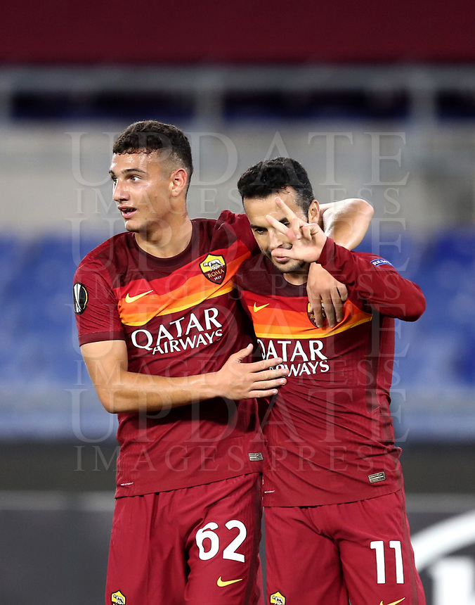Football Soccer: UEFA Europa League UEFA Europa League Group A  AS Roma vs FCR Cluj, Olympic stadium, Rome, 5 November, 2020.<br /> Roma's Pedro Rodriguez (r) celebrates after scoring with his teammate Tommaso Milanese (l) during the Europa League football match between Roma and Cluj at the Olympic stadium in Rome on  5 November, 2020.<br /> UPDATE IMAGES PRESS/Isabella Bonotto