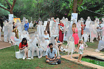 Auroville, India - April 2021: Human Unity in Covid Time. Attending the opening of an art exhibition in AV Centre d'Art.