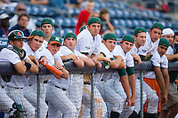 The Miami Hurricanes bench tries rally caps in the 9th inning versus the Florida State Seminoles at Durham Bulls Athletic Park May 21, 2009 in Durham, North Carolina.  (Photo by Brian Westerholt / Four Seam Images)