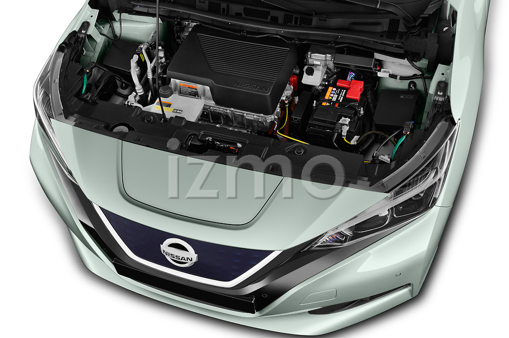 Car stock 2018 Nissan Leaf N Connecta 5 Door Hatchback engine high angle detail view
