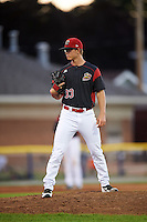 Batavia Muckdogs relief pitcher Shane Sawczak (33) during a game against the Hudson Valley Renegades on August 2, 2016 at Dwyer Stadium in Batavia, New York.  Batavia defeated Hudson Valley 2-1. (Mike Janes/Four Seam Images)