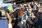 June 6, 2015: American Pharoah, Victor Espinoza up, wins the 147th running of the Grade I  Belmont Stakes and with it the Triple Crown at Belmont Park, Elmont, NY. Owner Ahmed Zayat leads his horse down victory lane. Joan Fairman Kanes/ESW/CSM