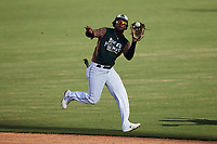 Charleston Boiled Peanuts shortstop Abiezel Ramirez (2) catches a pop fly during the game against the Augusta GreenJackets at Joseph P. Riley, Jr. Park on June 26, 2021 in Charleston, South Carolina. (Brian Westerholt/Four Seam Images)