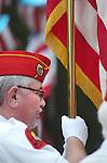 American flagman at veterans day parade.