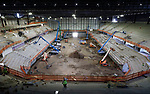 April 22, 2021— Construction continues at the 11,000 seat Summit Arena at the Monument as shown during a media tour in Rapid City, S.D.  Completion is expected by October 1. (Photo by Richard Carlson/Inertia)