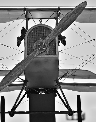 Black and white old bi-plane