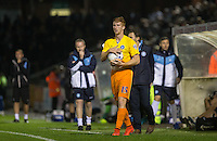 Ryan Sellers of Wycombe Wanderers prepares for a throw in during the Johnstone's Paint Trophy match between Bristol Rovers and Wycombe Wanderers at the Memorial Stadium, Bristol, England on 6 October 2015. Photo by Andy Rowland.