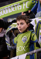 November, 2013: CenturyLink Field, Seattle, Washington:  A young Seattle Sounders FC fan as the Portland Timbers defeat  the Seattle Sounders FC 2-1 in the Major League Soccer Playoffs semifinals Round.