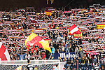 Fans of Atletico de Madrid show their supports during their La Liga match between Atletico de Madrid and Granada CF at the Vicente Calderon Stadium on 15 October 2016 in Madrid, Spain. Photo by Diego Gonzalez Souto / Power Sport Images