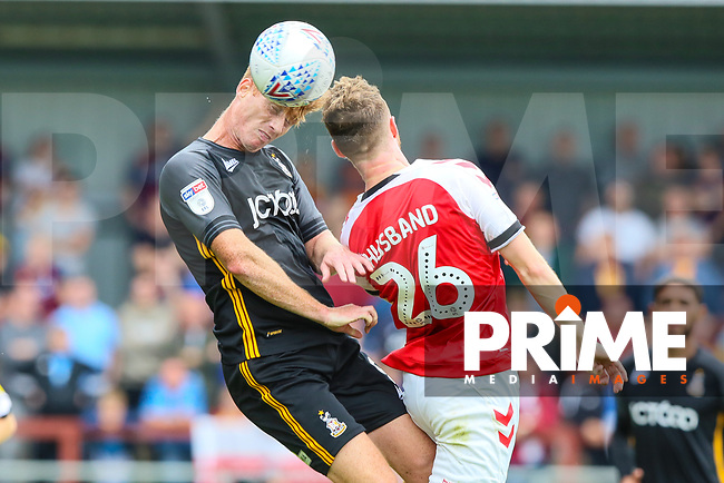 Eoin Doyle of Bradford City and James Husband of Fleetwood during the Sky Bet League 1 match between Fleetwood Town and Bradford City at Highbury Stadium, Fleetwood, England on 1 September 2018. Photo by Thomas Gadd.