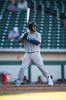 Peoria Javelinas catcher Ronaldo Hernandez (10), of the Tampa Bay Rays organization, at bat during an Arizona Fall League game against the Mesa Solar Sox at Sloan Park on November 6, 2018 in Mesa, Arizona. Mesa defeated Peoria 7-5 . (Zachary Lucy/Four Seam Images)