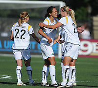 Manya Makoski (22), Stephanie Cox (14), Johanna Frisk (21). The Los Angeles Sol defeated FC Gold Pride, 2-0, at Buck Shaw Stadium in Santa Clara, CA on May 24, 2009.