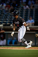 Birmingham Barons Ti'Quan Forbes (10) hits a single during a Southern League game against the Chattanooga Lookouts on May 2, 2019 at Regions Field in Birmingham, Alabama.  Birmingham defeated Chattanooga 4-2.  (Mike Janes/Four Seam Images)