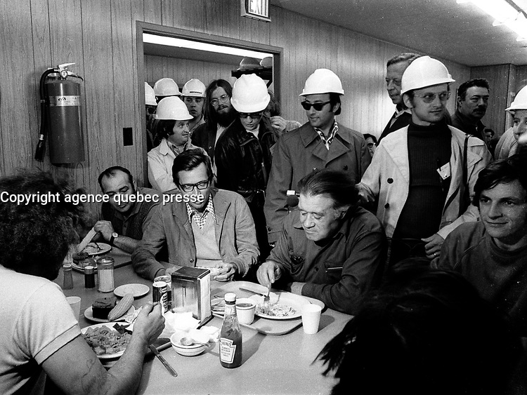 July 14 1973 - Montreal, Quebec , Canada  - Quebec Premier Robert Bourassa and journalist visit workers on the James Bay project