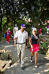HAIKOU, CHINA - OCTOBER 30:  Spanish golfer Belen Mozo (R) talks with Ruud Gullit of the Netherlands on the 11th hole during day four of the Mission Hills Start Trophy tournament at Mission Hills Resort on October 30, 2010 in Haikou, China. The Mission Hills Star Trophy is Asia's leading leisure liflestyle event and features Hollywood celebrities and international golf stars. Photo by Victor Fraile / The Power of Sport Images