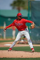 Philadelphia Phillies Rafi Gonell (77) during a minor league Spring Training game against the Pittsburgh Pirates on March 13, 2019 at Pirate City in Bradenton, Florida.  (Mike Janes/Four Seam Images)