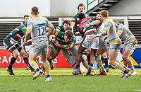 20th February 2021; Welford Road Stadium, Leicester, Midlands, England; Premiership Rugby, Leicester Tigers versus Wasps; Jasper Wiese of Leicester Tigers gets tackled by Tom Willis of Wasps